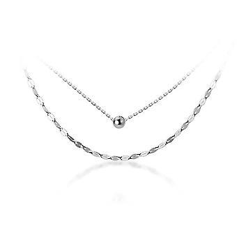 Silverplätering dubbla lager geometriska ljusa skiva pärla choker halsband för mode kvinnor Boho