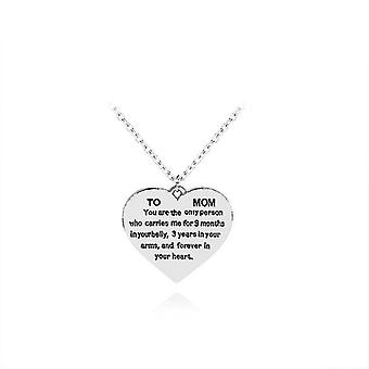 To Mom Heart-shaped Inscription Necklace