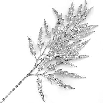 73cm Silber Glitzer boxelder Blatt Spray für Floristik Handwerk