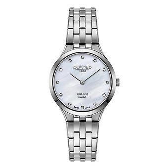 Roamer 512847 41 89 20 Women's Slim Line Diamond Steel Bracelet Wristwatch
