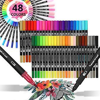 Dual Tip Pinselstifte, Dual Tip Pinselmarker, Malbuch Pinsel Fineliner Stifte, 48 Farben