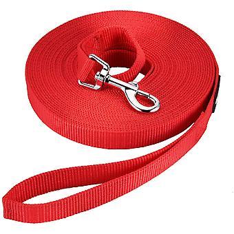 Lange trekkabel voor hondentraining Lange nylon trekkabel voor honden zonder omsnoering voor katten en honden Huisdieren wandelen joggen (10m lang, rood)