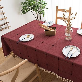 Rechteckige Tischdecke, Baumwolle und Leinen Tischdecke mit Pompons, Moderne Küchentischdekoration (rotes Gitter, 140 * 140cm)