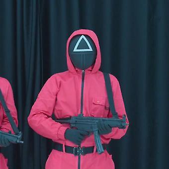 Blæksprutte Spil buksedragt med maske Cosplay Kostume Red Halloween Party Unisex Voksen Runde Six Prop One Set koreanske tv-serie M Onlyjumpsuit