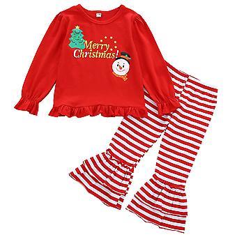 Karácsonyi Kids Girl Outfit Xmas ruhák hosszú ujjú felső nadrág szett