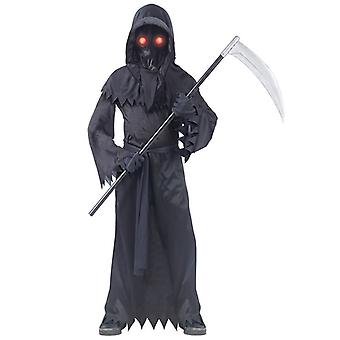 Ijesztő Grim Reaper jelmez ragyog a sötét Halloween jelmez gyermek kasza fényes szemüveg teljes készlet