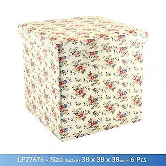 Sommer TUSENFRYD blomster tema FOLDING OTTOMANSK OPPBEVARINGSBOKS og sete 38x38x38cm