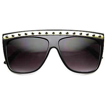 Large Oversize Flat Top Metal Studded Spiked Sunglasses