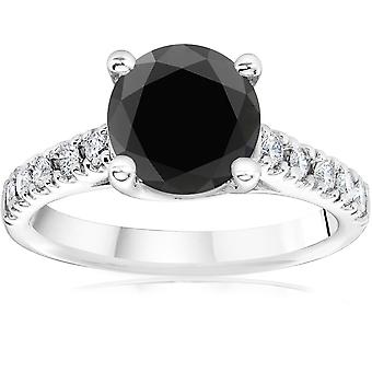 3 1/4 ct 14 K oro blanco redondo anillo de compromiso diamante negro