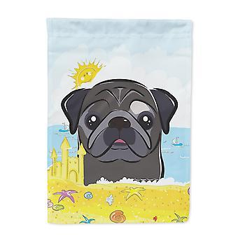 Carolines Treasures  BB2131GF Black Pug Summer Beach Flag Garden Size
