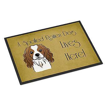 キャバリア ・ スパニエルを台無しに犬の生命はここで屋内または屋外マット 18 x 27