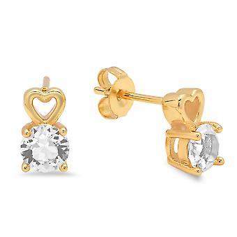 Ladies 18K Gold Plated Brass Heart Drop Stud Earrings