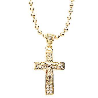 Z lodem bling sieć odzieżowa - MICRO krzyż złoty
