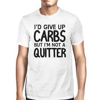 Quitter węglowodanów męskie biały T-Shirt graficzny śmieszne pracy Tee dary