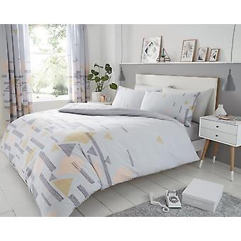 Benton Diamond Triangle Duvet Quilt Cover Polycotton Printed Bedding Set