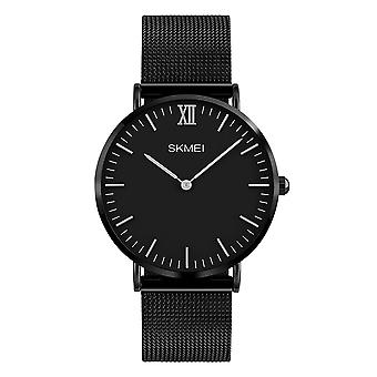 SKMEI Black Mens Quartz Watch Clear Large Dial Mesh Strap With Clasp 1181B UK