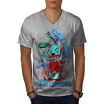 Veren Freak pupu Zombie GreyV-Neck t-paita | Wellcoda