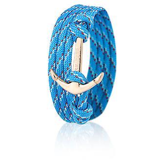 Шкипер якорь браслет браслет нейлон в светло-голубой/красный с Золотой якорь 6652