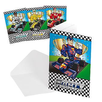 Uitnodiging uitnodigingen uitnodiging Formule 1 kids party verjaardag 8 stuks