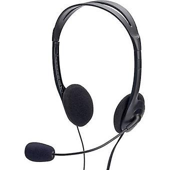 ednet 83022 PC headset 3.5 mm jack Corded, Stereo On-ear Black