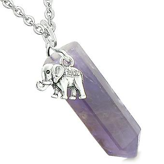 Lycklig elefant Charm magiska krafter amulett Crystal punkt lila kvarts 18 tum halsband
