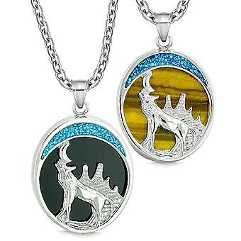 Howling Wolf Wild Woods Moon Love Couples or Best Friends Simulated Onyx and Tiger Eye Necklaces