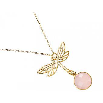 Pingente de colar gemshine 925 prata banhado LIBELLE rosa quartzo rosa rosa rosa rosa