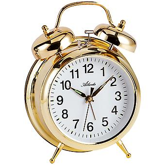 Nostalgia alarm clock of mechanical double Bell alarm clock metal gold