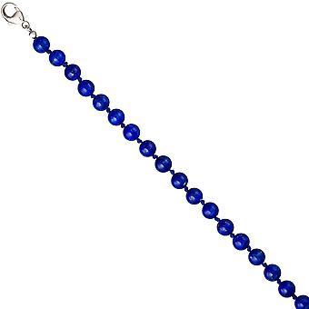 Lapis kjede kjede gemstone blå lapis lazuli 45 cm kjede 925 sølv