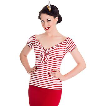 Hell Bunny Red & White Dolly Top XL