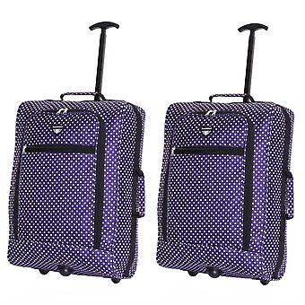 Slimbridge Montecorto Set van 2 cabine Bagage tassen, paarse stippen (SET van 2)