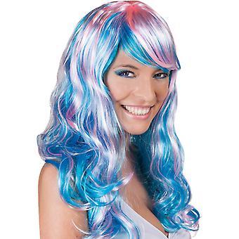 Wig Aquarella blå langhåret vann bølger