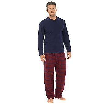 Mens Thermal Fleece Top & Flanel Bottoms Pyjama Lounge Wear Mens Thermal Fleece Top & Flanel Bottoms Pijama Lounge Wear