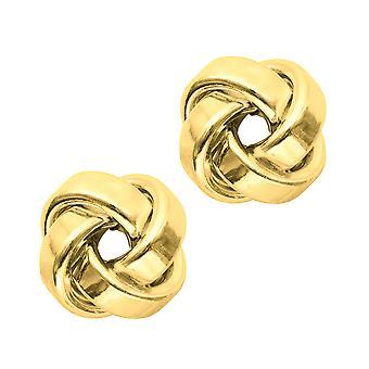 14 k Gold glänzenden Vierkantrohr Love Knot Ohrstecker, 10mm