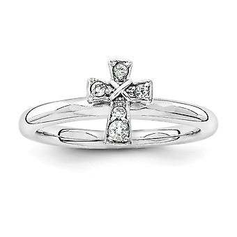 2.25mm 925 Sterling Silver Rhodium verguld Stackable Expressions Rhodium White Topaz Religious Faith Cross Ring Sieraden G
