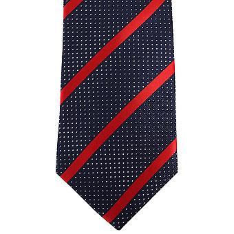 David Van Hagen Striped Pin Dot Tie - Navy/Red