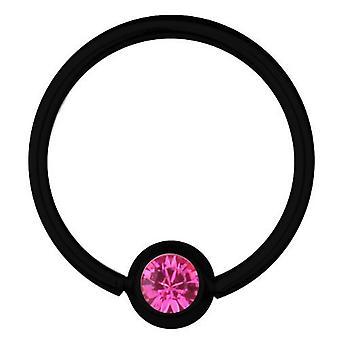 BCR svart Titan Piercing 1,2 mm, SWAROVSKI ELEMENTS rosa | 6 - 12 mm