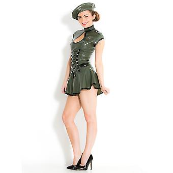 Honour Women's Kinky Army Dress & Beret in Latex Rubber Role Play Costume