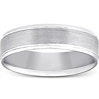 5mm plat geborsteld Mens Wedding Band 10K witgoud