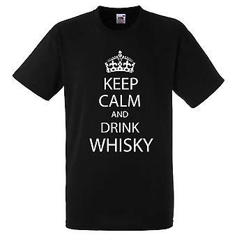 Noir, gardez votre calme et boire Whisky Tshirt