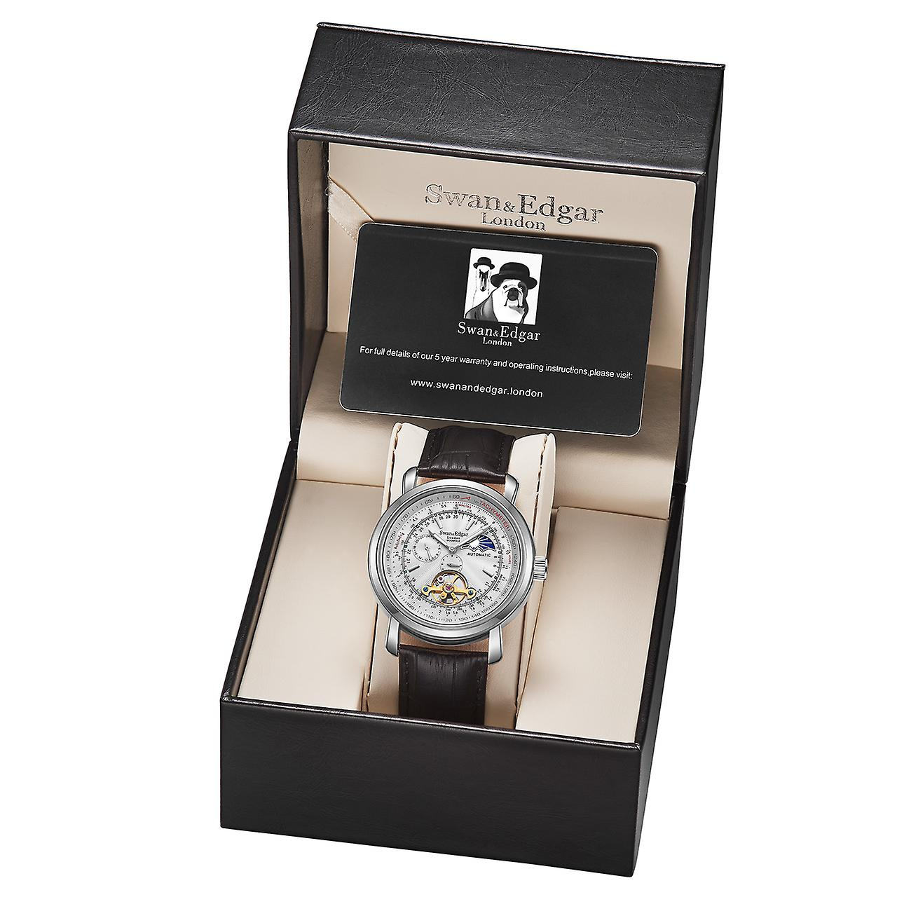 Swan & Edgar Automatic Moonface Steel & White Mens Watch