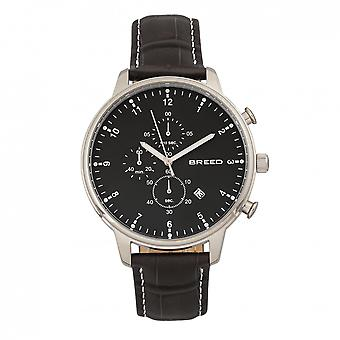 Breed Holden Chronograph Leather-Band Watch w/ Date - Silver/Black
