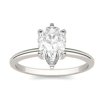14K oro blanco Moissanite por Charles & Colvard 9x6mm pera anillo de compromiso, Rocío 1,50 ct