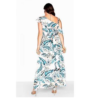 Little Mistress Curvy Womens/Ladies Frill Wrap Maxi Dress