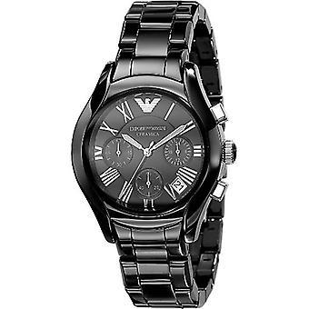 Emporio Armani dames noir en céramique Ar1401 cadran noir Chrono Watch