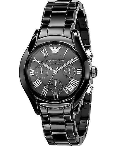 Emporio Armani Ladies Black Ceramic Ar1401 Black Dial Chrono Watch