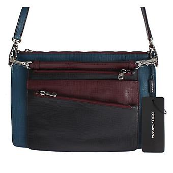 Blue leather shoulder cross body messenger bag purse