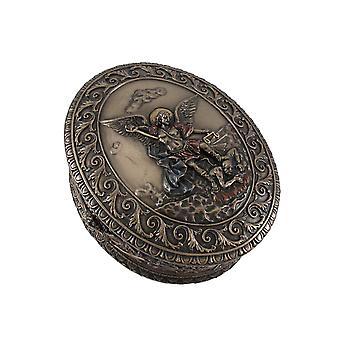 Ornate Bronze St. Michael Bas Relief Oval Trinket Box