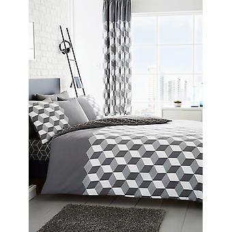 Cubix Geometric Duvet Cover and Pillowcase Set