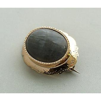 Gold brooch with Labradorite